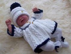 Baby Knitting Pattern - Reborn Dolls Knitting Pattern - Download PDF Knitting Pattern - Matinee Set - Coat, Leggings & Hat