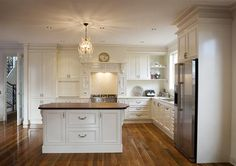 remember this kitchen arrangement Timber Kitchen, Rustic Kitchen, Country Kitchen, Timber Benchtop, French Provincial Kitchen, Kitchen Arrangement, House Design Pictures, New House Plans, Beautiful Kitchens