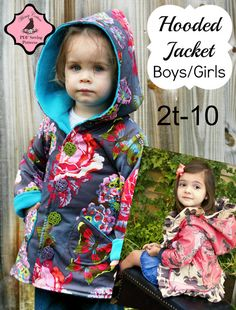 Whimsy Couture Sewing Pattern Tutorial PDF - Unisex hooded jacket for sizes 2t - 10. Easy to make!