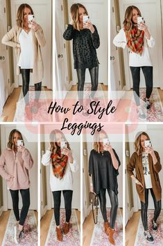 Leggings Outfits: Inspiration for Fall and Winter - Wishes & Reality Here are 32 different leggings outfits created with pieces that can be mixed and matched to create endless outfit combinations. Casual Leggings Outfit, Casual Fall Outfits, Fall Winter Outfits, Leggings Fashion, Winter Camo, Leggings Style, Leopard Leggings Outfit, Cute Legging Outfits, Stylish Mom Outfits