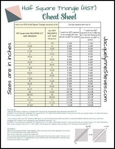 Half Square Triangle (HST) Cheat Sheet and Tutorial