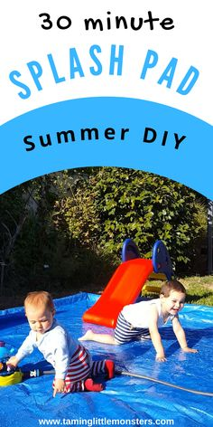 Learn how to make a DIY Splash pad in less than 30 minutes. This summer project is perfect for anyone with kids. Babies, toddlers and preschoolers can splash away and cool down safely with this Summer DIY. Learn how to make this summer epic. #summer #diy #diyproject