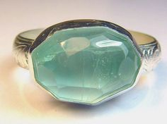 Aquamarine set in recycled embossed sterling silver, Deaf Cat Studios