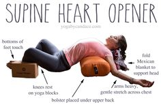 Heart opening yin pose. Try this subtle heart opener for depression, feel free to lower the chest by using 1-2 folded blankets under upper back.