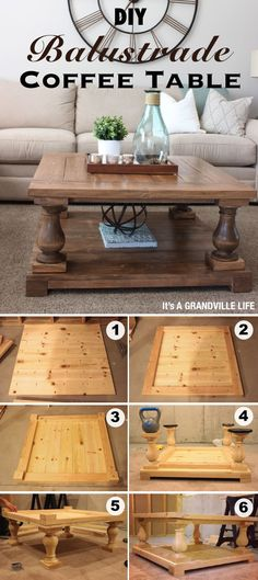DIY Balustrade Coffee Table / Get four ornate wood pillars and create DIY balustrade coffee table.