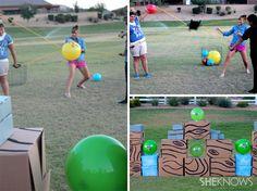 DIY Life-sized Angry Birds game for backyard