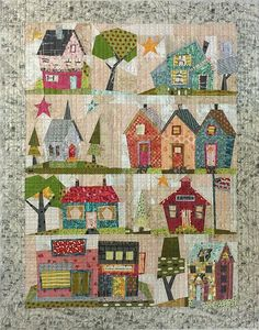 My Kinda Town quilt pattern designed by Laura Heine and Peggy Larsen for Fiberworks features 9 whimsical paper pieced blocks In a quaint town setting! Pattern includes complete instructions for the quilt and full sized patterns. Size 42 x House Quilt Patterns, House Quilt Block, Paper Pieced Quilt Patterns, Patchwork Quilting, Quilt Block Patterns, Pattern Paper, Quilt Blocks, Crazy Quilting, Crazy Patchwork