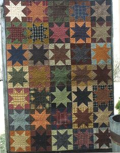 Primitive Quilting Pattern -- Chicken Feed Opposites Attract from Country Threads - Large Wall hanging 35 x Old Quilts, Star Quilts, Scrappy Quilts, Mini Quilts, Vintage Quilts, Primitive Quilts, Primitive Folk Art, Plaid Quilt, Flannel Quilts