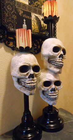 Halloween Skull Candle Holders with Bloody LED by tawnystreasures, $45.00