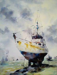 """Boat, nautical art, ship yard, dry dock, sky, fishing boat. Title is In for Repair- Original Watercolor Painting 16"""" x 12""""."""