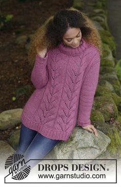 Gebreide trui met kantpatroon en boordsteek. Maten S - XXXL. De trui wordt gebreid in DROPS Air. Gratis patronen van DROPS Design.