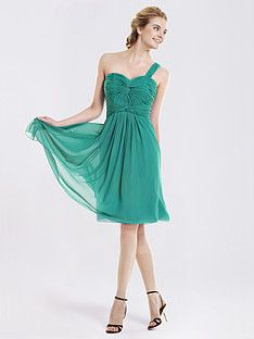 Knotted Ruche Chiffon One Shoulder Bridesmaid Dress | Plus and Petite sizes available! Hundreds of styles, tons of colors!
