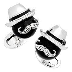 Black Onyx Bead Cufflinks with Fedora and Mustache