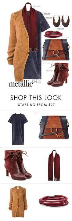"""""""Metallic Dress"""" by mrs-rc ❤ liked on Polyvore featuring Jil Sander, Chloé, Wilsons Leather, Forte Forte, BillyTheTree and Kenneth Jay Lane"""