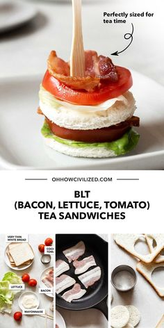 Looking for a good finger food idea? Try making a delicious batch of mini BLTs! These tea sandwiches made of bacon, lettuce, and tomato, will never disappoint. Click here to learn how to make your own batch. Sandwich Recipes, Snack Recipes, Mini Blt, High Tea Sandwiches, Hot Tea Recipes, Tomato Sandwich, Tea Time Snacks, Best Tea, Finger Food