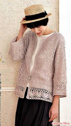 ideas for knitting cardigan summer spring Crochet Coat, Crochet Jacket, Crochet Cardigan, Crochet Clothes, Crochet Fashion, Diy Fashion, Summer Cardigan, Modern Crochet, Knitting Designs