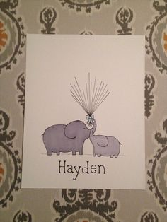 Baby shower elephant and balloon fingerprint by MerelyMade on Etsy, $55.00
