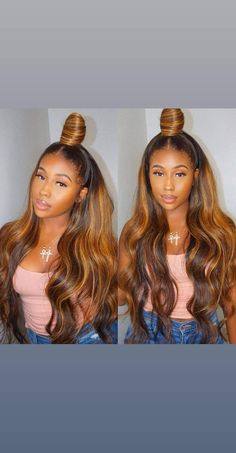 63 stunning examples of brown ombre hair - Hairstyles Trends Front Hair Styles, Curly Hair Styles, Natural Hair Styles, Hair Front, Locs Styles, Honey Blonde Hair, Blonde Wig, Blonde Color, Blonde Balayage