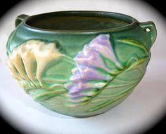 Vintage Green Roseville Art Pottery Vase with Freesia