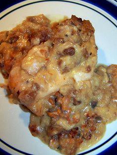 Swiss Chicken Casserole (it tastes a lot better than it looks)... In the crock pot right now :)