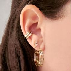 cad6ff0ca 14K Gold Lattice Hoops Earrings - Designer Earrings - The EarStylist – The  EarStylist by Jo