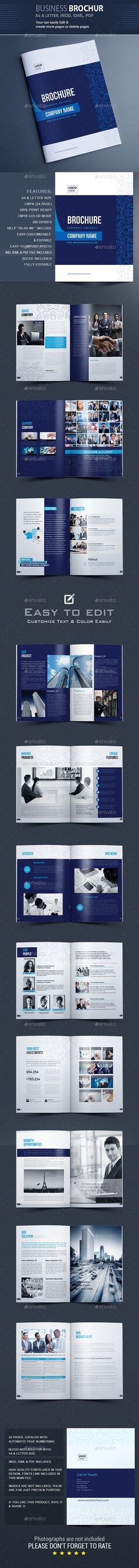 Corporate Business Brochure 24 Pages A4 &  Letter Templates InDesign INDD