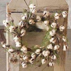 Glittered Cotton Wreath Texas Home Decor, Fall Home Decor, Fall Wreaths, Christmas Wreaths, Christmas Decor, Country Christmas, White Christmas, Christmas Time, Cotton Wreath
