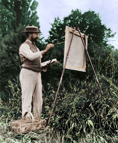 John Singer Sargent painting 'En plein air' c.1888.  Colorized by painters-in-color