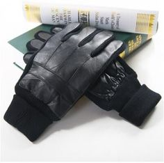 Winter Genuine leather Gloves Men's Warm gloves Male Knitted Thicken Gloves Male Theraml Sheepskin Leather Gloves Mittens Cheap