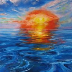 """""""Liquid Reflections"""" by Maureen Greenwood.  A beautiful original oil painting of a sunset reflecting over a deep blue sea from Maureen's collection. The detail in the waves and water is stunning. Click to view more of Maureen's original art on FineArtSeen l The Home Of Original Art. >> Pin For Later <<"""