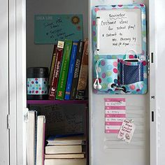 A locker can do more than simply hold books. Shelves, a dry-erase pocket board, and fun decals easily turn your child's metal locker into an organized center.