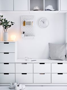 Ikea Inspiration, Inspiration Design, White Apartment, Apartment Interior, Ikea Interior, Interior Design, Ikea Hall, Ikea Nordli, White Hallway
