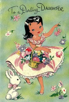 Vintage Bunny and Me Greetings Card Jpeg by poshtottydesignz
