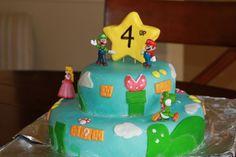 Mario birthday cake. Fondant with mario toys