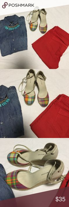 Tommy Hilfiger wedge Tommy Hilfiger colorful plaids wedge...with laces around the ankles Tommy Hilfiger Shoes Wedges