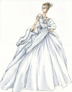 After Anna's public divorce from Alexei (Jude Law), she attends an opera wearing a white dress that is the mirror image of the asymmetrical black gown she wore to an earlier ball. #sketches #bocetos #novias