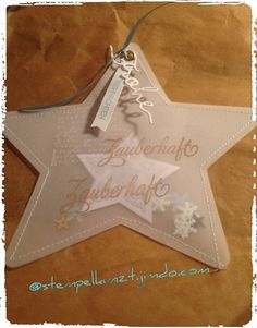 Stamp meets sewing ❣️ The result is a decorative star made of parchment paper, . - Stamp meets sewing ❣️ The result is a decorative star made of parchment paper, which is stamped - Diy Christmas Cards, Christmas Paper Crafts, Christmas Wishes, Christmas Projects, Xmas Cards, Christmas Decorations, Christmas Ornaments, Christmas Makes, Christmas Star
