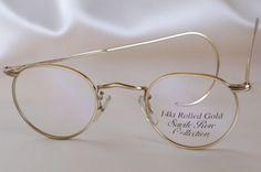 618ace193e Vintage eyewear Savile row panto frame 14k white gold filled made in ...