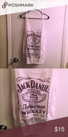 White Jack Daniels whiskey tank White tank with Jack Daniels whiskey logo. Size Medium. Etsy Tops Tank Tops