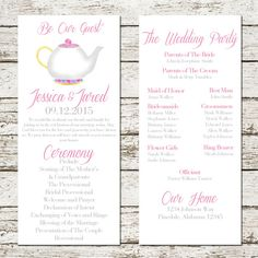 Beauty And The Beast Wedding Program Printable Be Our Guest Download  Ceremony Party Bridal Mrs Potts Teapot Card