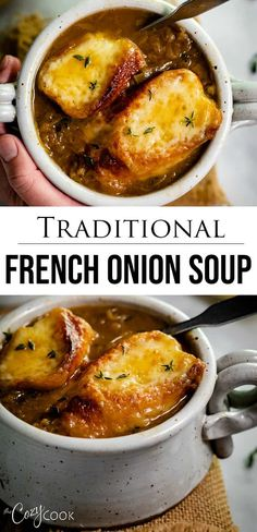After much testing, this is definitely the BEST French Onion Soup recipe you'll find, and it's easy to make too! Learn how to make perfectly caramelized onions for the most flavorful French Onion Soup ever! Food Recipes For Dinner, Food Recipes Keto Onion Soup Recipes, Easy Soup Recipes, Cooking Recipes, Healthy Recipes, Ramen Recipes, Cooking Bacon, Cooking Games, Recipes Dinner, Homemade French Onion Soup