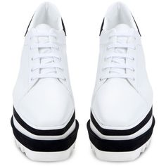 Stella McCartney White Sneak-Elyse Sneaker (£525) ❤ liked on Polyvore featuring shoes, sneakers, sapatos, rubber shoes, white colour shoes, white shoes, stella mccartney trainers and rubber sneakers