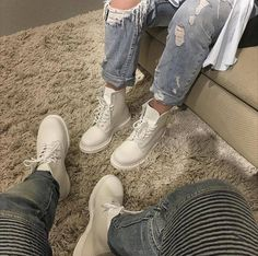 Double Mono: The White Mono 1460 boots, shared by taylorxdelany on Instagram.