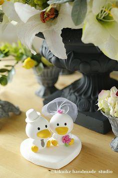 Wedding Cake Topper -Handmade love ducks cake topper