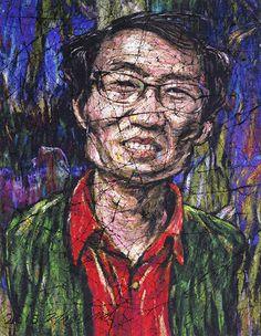 YiPyung Kim 김이평 // 'Portrait of Choi, Jong Ho' '최종호의 초상' // 79x105cm, Reactive dye, Acid dye, Silk, 2014
