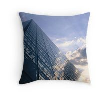 Louvre and Sun rays Throw Pillow