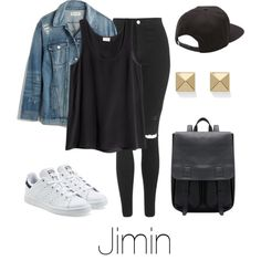 Airport Fashion: Jimin by btsoutfits on Polyvore featuring H&M, Madewell, Topshop, adidas Originals, Palm Beach Jewelry and Vans