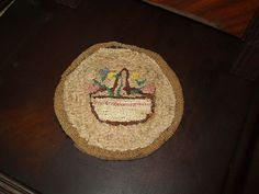 ANTIQUE HOOKED DOLL RUG LARGER DOLL HOUSE SIZE GEORGIA ESTATE FIND for sale now on eBay by Pam Jones pjgal2000 of Barn Raising Antiques SOLD!!