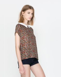 Zara New Ladies Top T Shirt Floral Pattern White Peter Pan Collar Size S Small | eBay