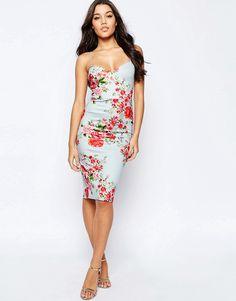 Image 1 of ASOS Deep Plunge Rose Midi Scuba Body-Conscious Dress